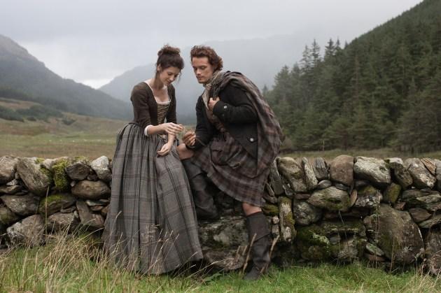 Outlander's Claire (Caitriona Balfe) and Jamie (Sam Heughan), photo courtesy of STARZ