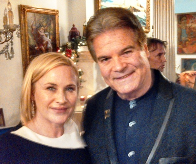 "Actress Patricia Arquette & PR Pro, Edward Lozzi at Celebration of ""Boyhood"" at home of Renee Taylor & Joe Bologna"