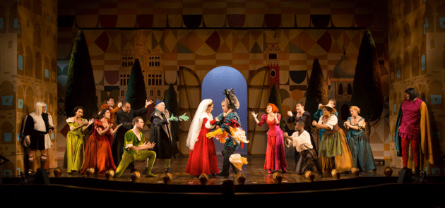 The cast of the Hartford Stage/Old Globe co-production of Kiss Me, Kate, with music and lyrics by Cole Porter, book by Sam and Bella Spewack, choreography by Peggy Hickey, and directed by Darko Tresnjak. The Old Globe engagement of Kiss Me, Kate runs July 1 - Aug. 9, 2015. Photo by T Charles Erickson.