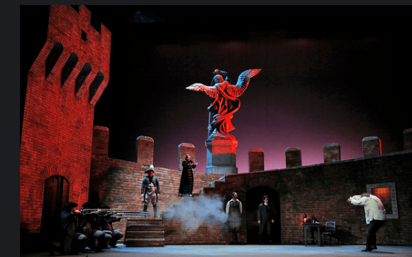 Act 3 scenery in San Diego Opera's TOSCA (February, 2016). Photo copyright Cory Weaver.