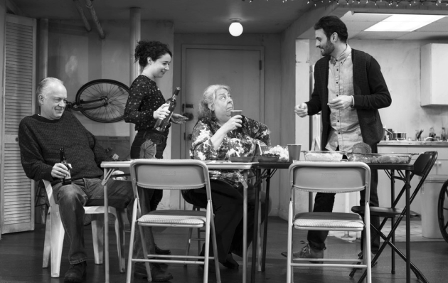 (L-R) Reed Birney, Sarah Steele, Jayne Houdyshell, and Arian Moayed in Stephen Karam's The Humans. Photo by: Brigitte Lacombe