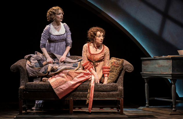 (from left) Sharon Rietkerk as Elinor Dashwood and Megan McGinnis as Marianne Dashwood in Chicago Shakespeare Theater's 2015 production of Sense and Sensibility. The Old Globe's production of Sense and Sensibility, with book, music, and lyrics by Paul Gordon and directed by Barbara Gaines, runs July 6 – August 14, 2016. Photo by Liz Lauren, courtesy of Chicago Shakespeare Theater.