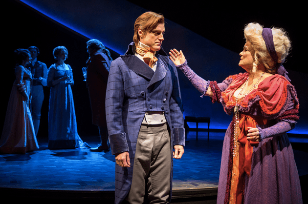 Sean Allan Krill as Colonel Brandon and Paula Scrofano as Mrs. Jennings. Photo by Liz Lauren, courtesy of Chicago Shakespeare Theater.