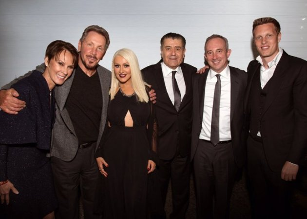 Larry Ellison - Saban Event: Cheryl Saban, Larry Ellison, Christina Aguilera, Haim Saban, David Agus, and David Ellison (Photo credit: Alex Berliner)