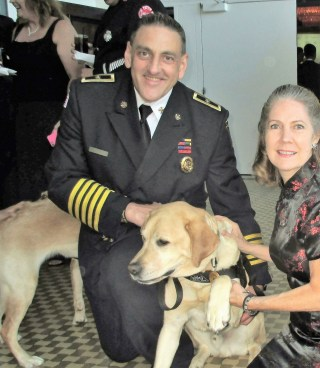 Arson Hero dog Judge with Fire Chief Lee Laubach and Margie Barron