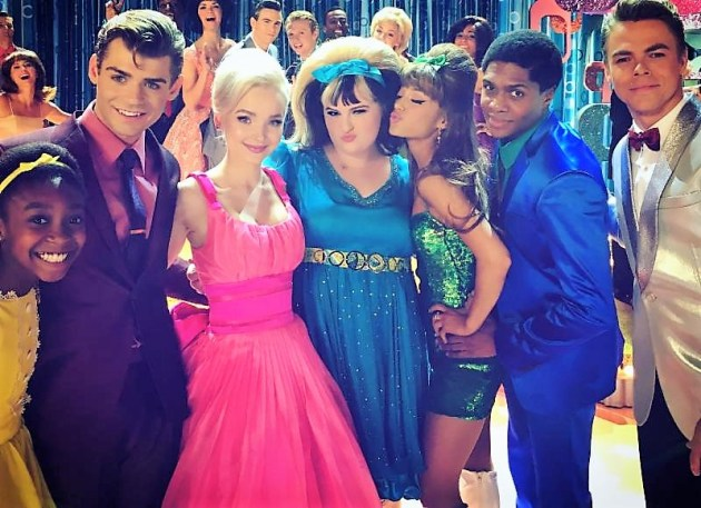 Hairspray Live! cast (from left) Shahadi Wright Joseph, Garrett Clayton, Dove Cameron, Maddie Baillio, Ariana Grande, Ephraim Sykes, Derek Hough (photo courtesy NBC0