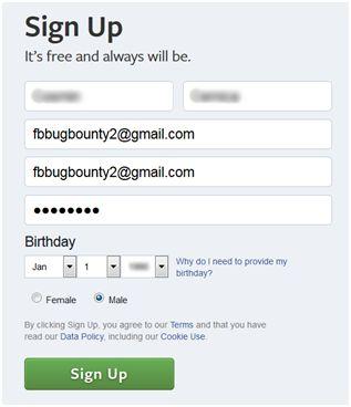 Atacatorul creează un nou cont de Facebook folosind adresa de e-mail a victimei