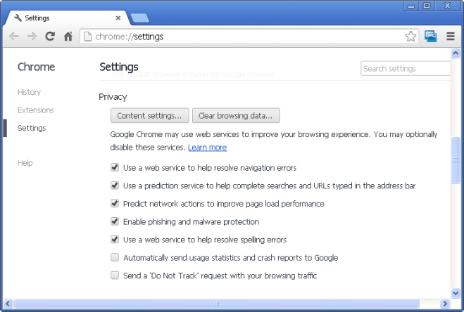 Chrome Privacy section