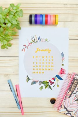 Free Modern Floral 2018 Calendar Printables