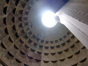 Inside the Pantheon in Rome. The oculus is open to the sky and the rain.