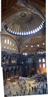Interior of Hagia Sofia, showing the open prayer space floor and the massive central dome.