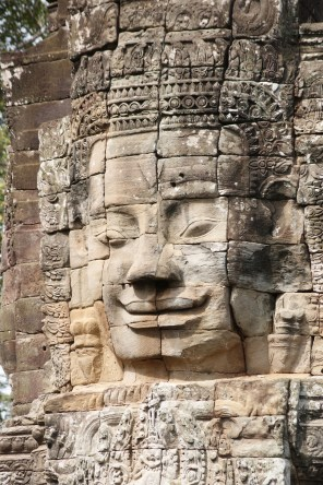 Closer view of one of the smiling Bayon faces