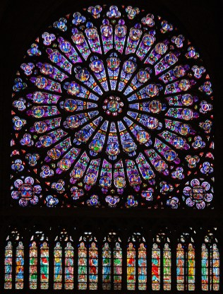 The north rose window of Notre Dame, Paris, seen from the inside. Built in 1250 AD