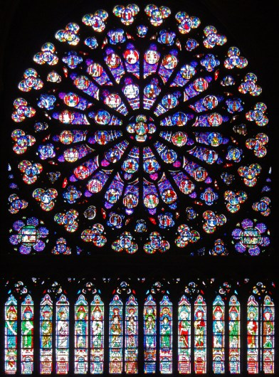 The south rose window of Notre Dame, Paris, seen from the inside. Built in 1260 AD
