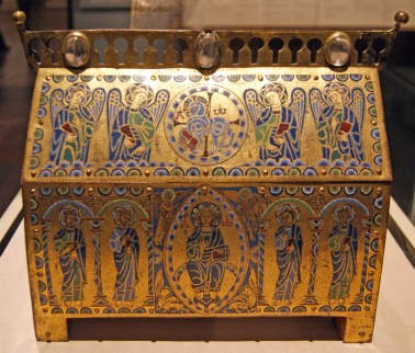 Reliquaries contained sacred relics of saints - usually some part of their body. Access to the contents was through a locked door at the end of the box.