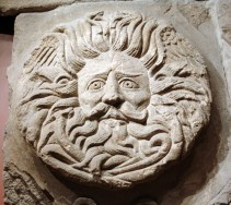 This stone carving of a head was part of the central pediment of the pagan temple at the Roman Baths in Bath, England.
