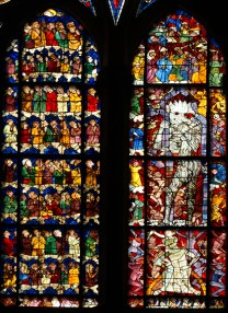 Window showing the dark side of the Last Judgement, with hellfire and demons, from Strasbourg Cathedral.