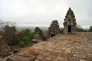 Phnom Bakheng temple is at the top of a hill, looking down on Angkor Wat