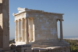 The front and side of the small but very lovely temple of Athena Nike