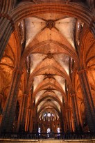The broad and high central nave of Barcelona Cathedral