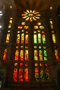 The window shapes of La Sagrada Familia are a modern variation on a conventionally gothic layout