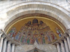 This lunette contains the oldest of all the mosaic scenes on the front of St Mark's cathedral, dating back to the 13thC