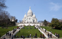 Sacre Coeur Basilica is at the top of the hill in Montmartre, the highest point in the city.