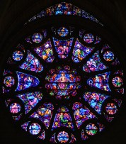 The rose window from the south transept of Notre Dame Cathedral, Reims, France