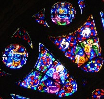 Some outer panels from the south transept rose window of Notre Dame Cathedral, Reims, France