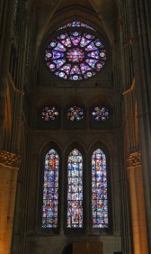 The south transept rose window of Reims cathedral and the three lancet windows below
