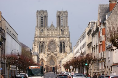 Approaching Notre-Dame Reims from Rue Libergier