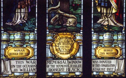 Many of the stained glass windows of St Andrew's are memorial windows, this one for a serviceman in the Great War (WWI)