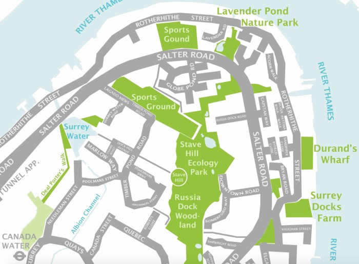 Map of Stave Hill & Russia Docklands (http://barges-local.net/2011/05/17/stave-hill-ecological-park-shep/)