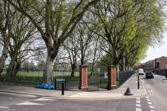 The entrance on the corner of Scawen Road and Grinstead Road