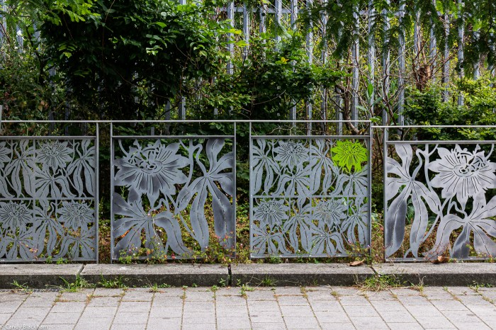 Heather Burrell's metalwork outside the far side of the underpass