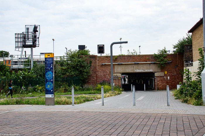 The underpass from Pagnell Street to Douglas Way, and Margaret McMillan Park