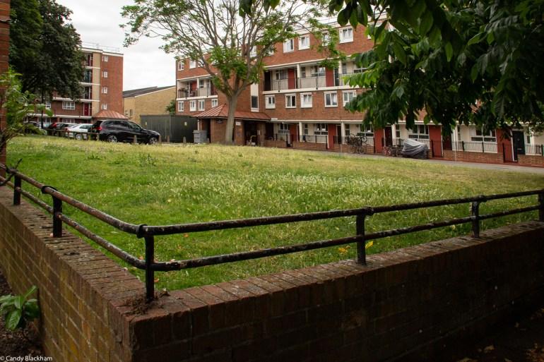 Empty green opposite Hatcham Gardens