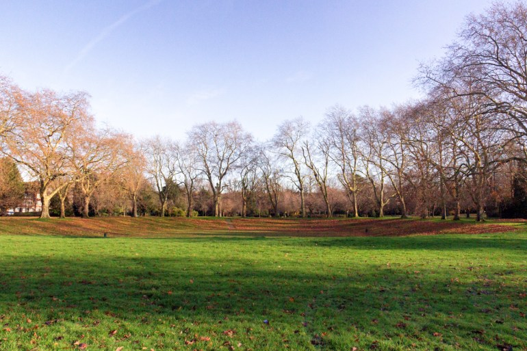 The former gravel pit in Lewisham Park