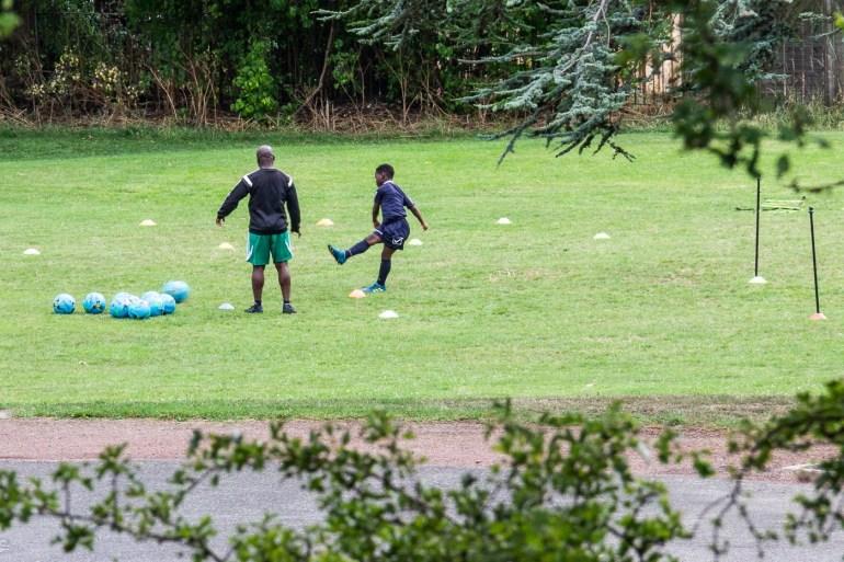 Soccer practice in Downham Fields in se London