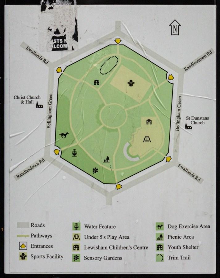 Information Board of Bellingham Green in SE London