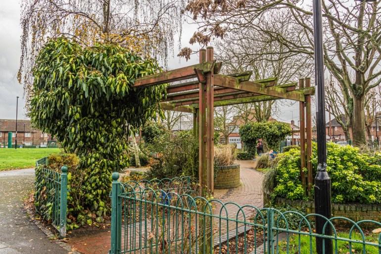 Entrance to the sensory garden on Bellingham Green in SE London