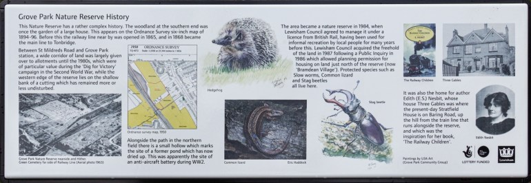 Grove Park Nature Reserve information board
