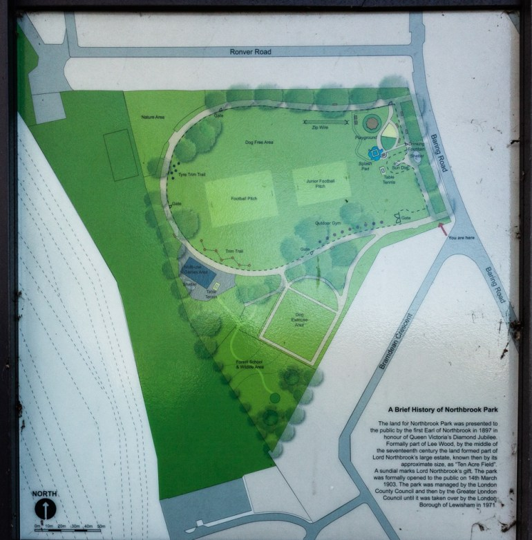 Northbrook Park in Lee information board