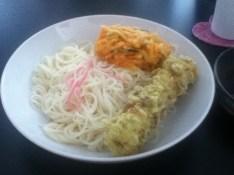 somen with chikuwa and veggie tempura