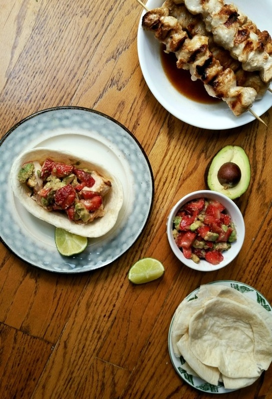 Honey Lime Chicken Tacos with Strawberry Avocado Salsa; Enticing Healthy Eating