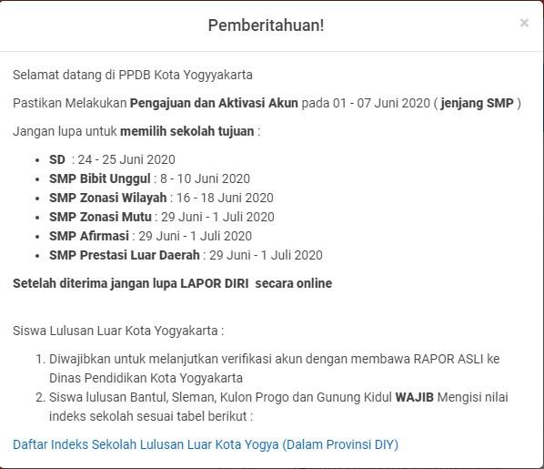 jadwal pendaftaran smp kota yogyakarta