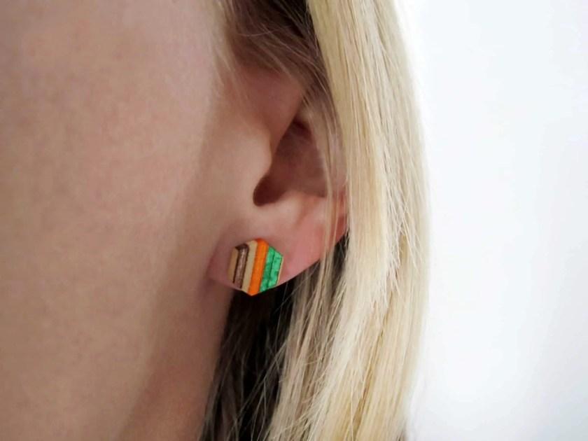 recycled skateboard stud earring