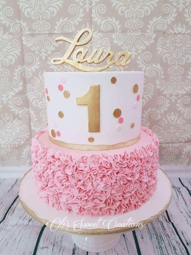 1St Birthday Cakes Girl First Birthday Cake With Pink And Gold Theme Birthdays