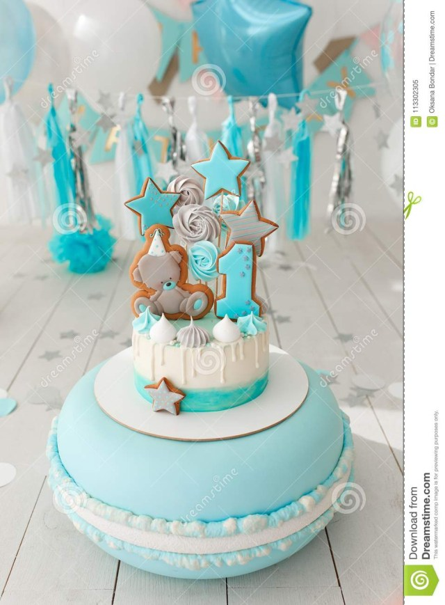 1St Birthday Cakes Girl First Birthday Cake With White And Blue Decor Stock Image Image Of