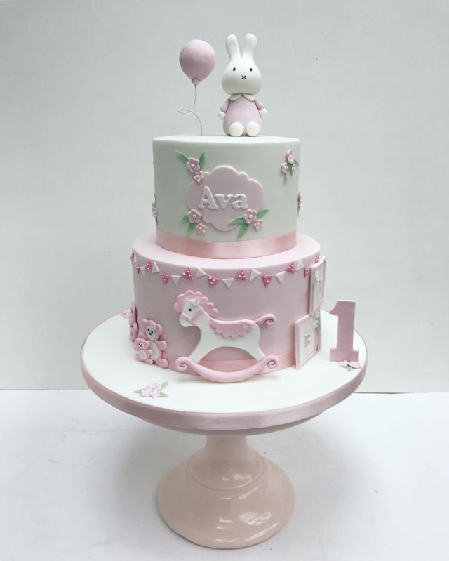 1St Birthday Cakes Girl Miffy Pink Bunny Cake For Little Girls First Birthday Sweet